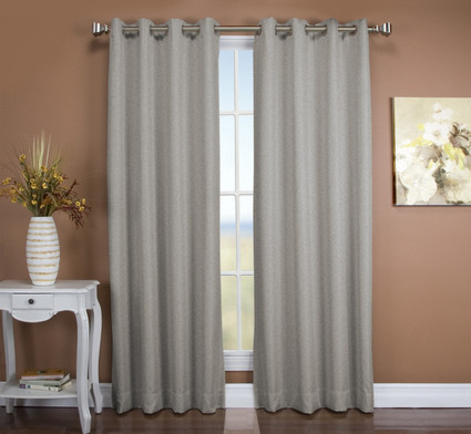 Tacoma Double Blackout Grommet Top Curtain Panel - Stone ( 2 panels shown)