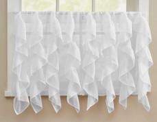 """Cascade 24"""" kitchen curtain tier - White"""