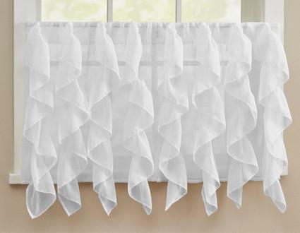 """Cascade 36"""" kitchen curtain tier - White"""