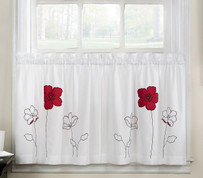 "Poppy Garden 36"" kitchen curtain tier - Red from CHF"
