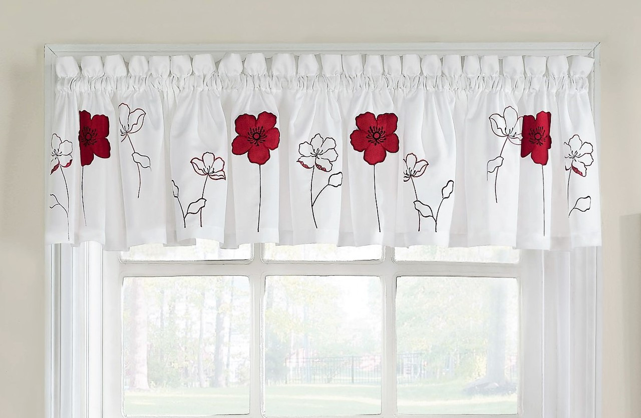 Poppy Garden Kitchen Curtain Valance Red Linens4less Com