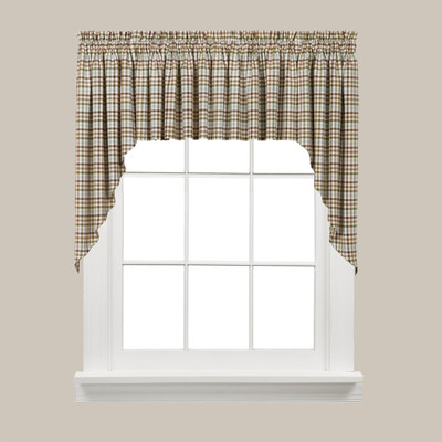 Dexter Plaid Kitchen Curtain Swag - Green