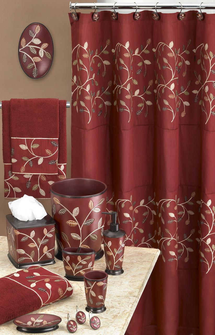 Aubury Shower Curtain Bathroom Accessories Burgundy