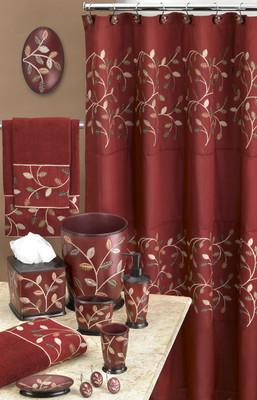 Aubury Shower Curtain & Bathroom Accessories - Burgundy from Popular Bath
