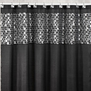 Mosaic black shower curtain from Popular Bath (shower hooks not included)