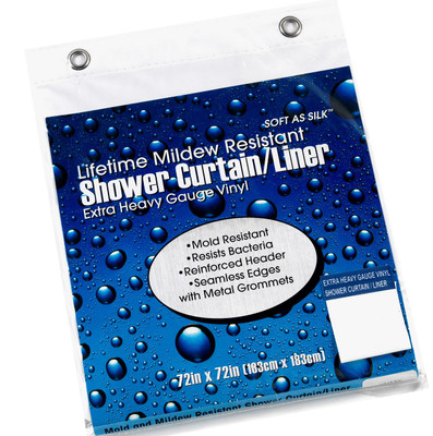 "Extra Heavy 10g Vinyl Shower Curtain Liner - 72"" wide x 84"" long - White, Bone, Clear"