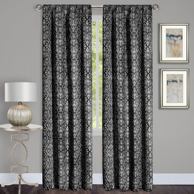 Madison Black Room Darkening Rod Pocket Curtains from Achim