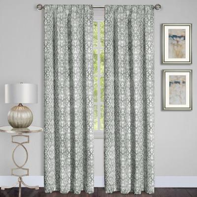 Madison Silver Room Darkening Rod Pocket Curtains from Achim