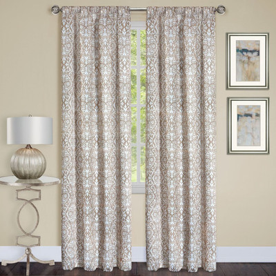 Madison Taupe Room Darkening Rod Pocket Curtains from Achim