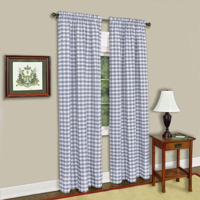 Buffalo Check Rod Pocket Curtain Panel - Grey