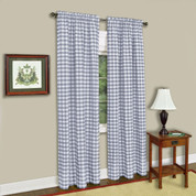 Buffalo Check Rod Pocket Curtain Panel - Grey