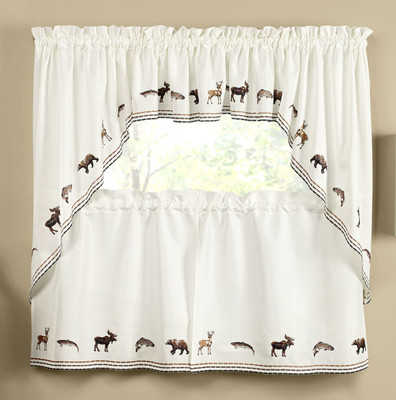 Lodge Outdoors Embroidered Kitchen Curtains