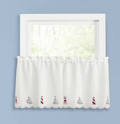 "Lighthouse 24"" kitchen curtain tier"