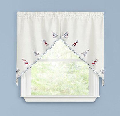 Lighthouse Embroidered Kitchen Curtain swag