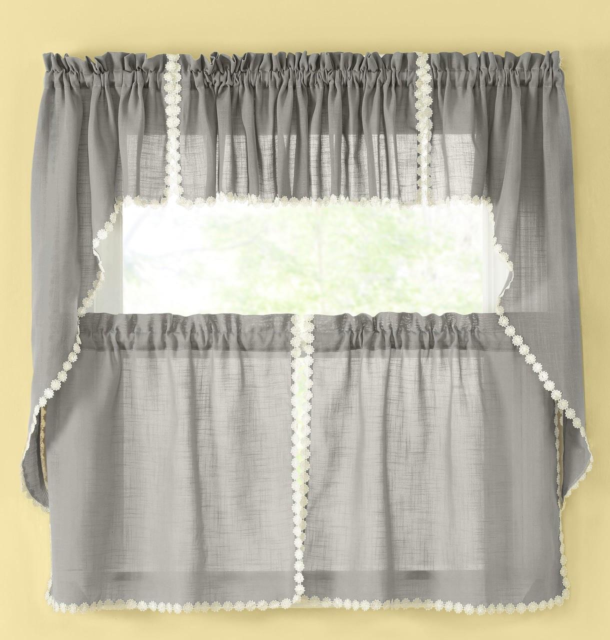 Andrea Kitchen Curtain - Gray
