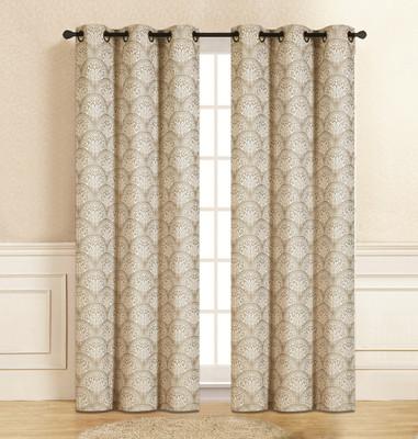Lisbon Grommet Top Curtain Pair - Beige