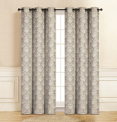 Lisbon Grommet Top Curtain Pair - Grey