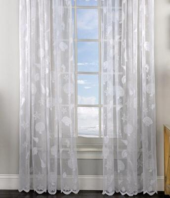 Reef Seashells Lace rod pocket curtain panel - White