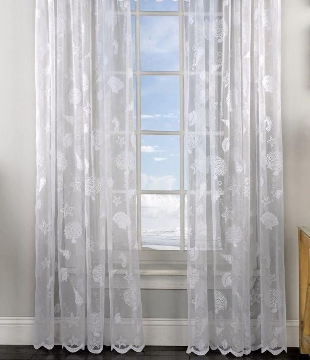 Reef Seashells Lace Rod Pocket Curtain Panel White Linens4less Com