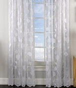 Reef Seashells Lace rod pocket curtain panel - White