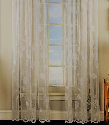 Reef Seashells Lace rod pocket curtain panel - Ivory