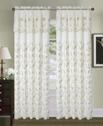 Carina Embroidered Curtain Panel - Beige/Taupe
