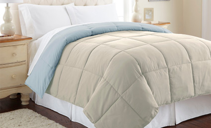 Alt Down Reversible Comforter - Oatmeal/Dusty Blue