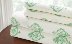 200 Thread Count Printed Sheet Set 100% cotton - Medallion Sage