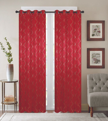 Diamond Grommet Top Curtain Panel - Red