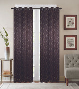 Diamond Grommet Top Curtain Panel - Chocolate