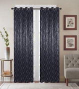 Diamond Grommet Top Curtain Panel - Black
