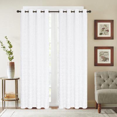Viola Velour Grommet Top Curtain Panel - White