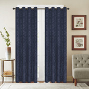 Viola Velour Grommet Top Curtain Panel - Navy