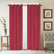 Viola Velour Grommet Top Curtain Panel - Burgundy