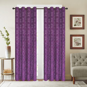 Viola Velour Grommet Top Curtain Panel - Purple
