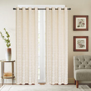 Viola Velour Grommet Top Curtain Panel - Ecru