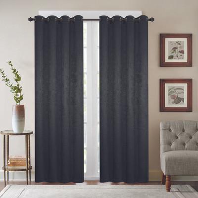 Gabriella Blackout Grommet Top Curtain Panel - Black