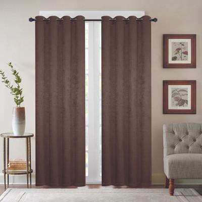Gabriella Blackout Grommet Top Curtain Panel - Chocolate