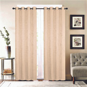 Gabriella Blackout Grommet Top Curtain Panel - Beige