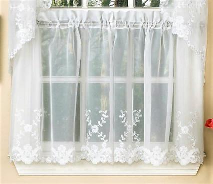 """Laurel 24"""" kitchen curtain tier - White"""