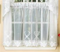 """Laurel 36"""" kitchen curtain tier - Whit"""