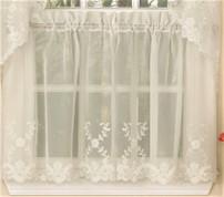 """Laurel 24"""" kitchen curtain tier - Ivory"""