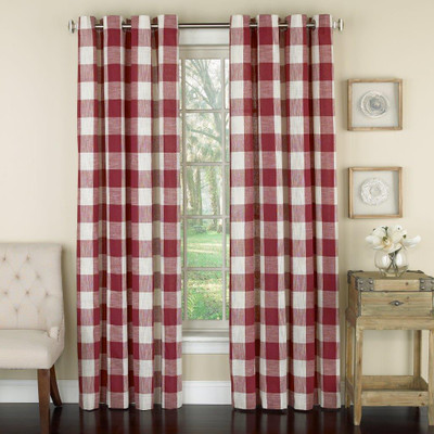 Courtyard Plaid Grommet Top Curtain - Red