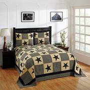 Star Cotton Patchwork Bedspread SET - Black from Better Trends