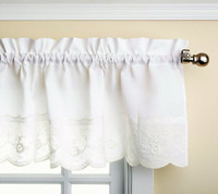 Candlewick kitchen curtain valance - White