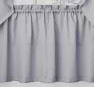 "Ribcord 24"" kitchen curtain tier - Gray"