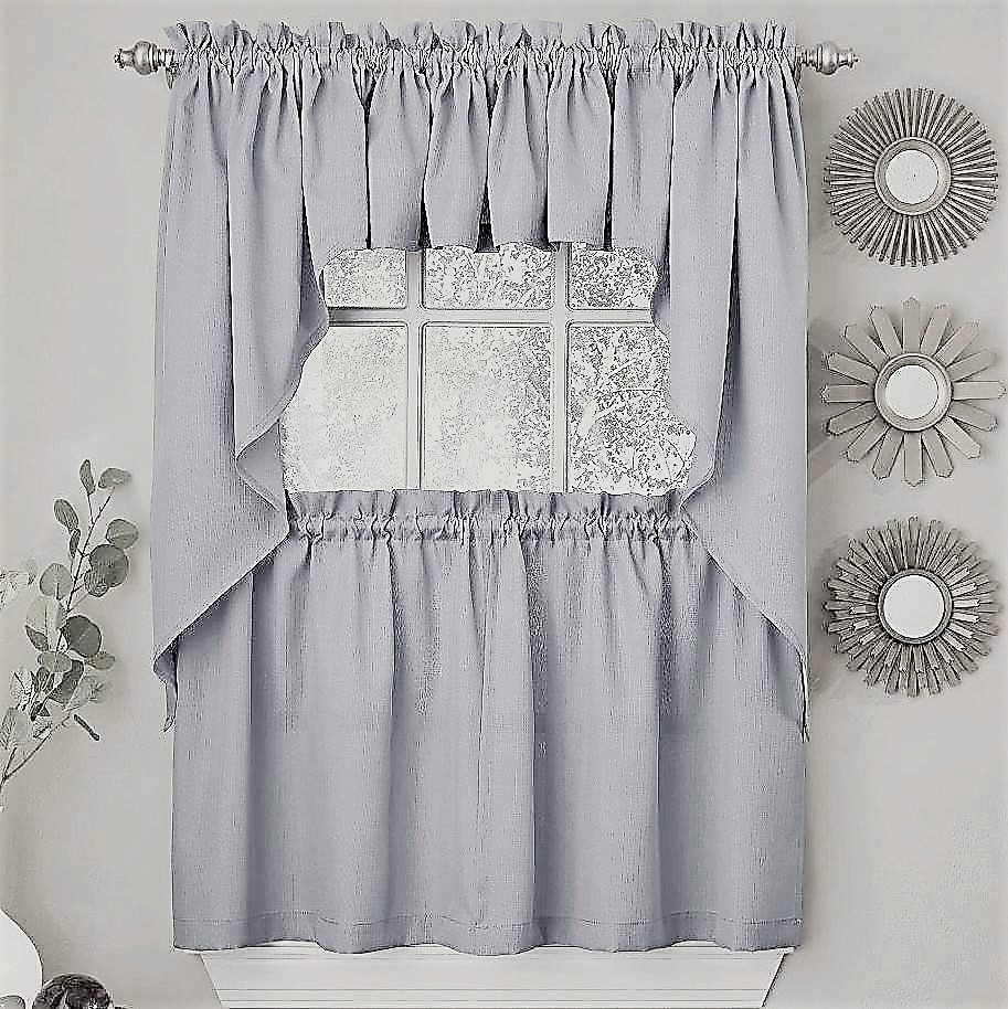 Ribcord Kitchen Curtain - Gray