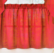 """Ribcord 24"""" kitchen curtain tier - Red"""