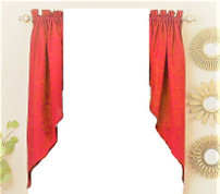 Ribcord kitchen curtain swag - Red