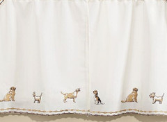 "Dogs 36"" kitchen curtain tier"